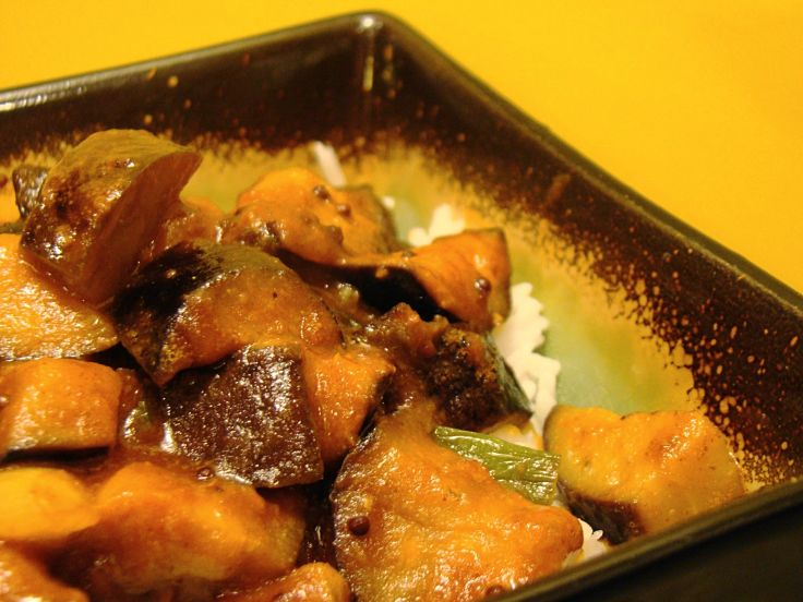Eggplant makes a good substitute for meat in vegan curry dishes such as this Vegan Madras Curry