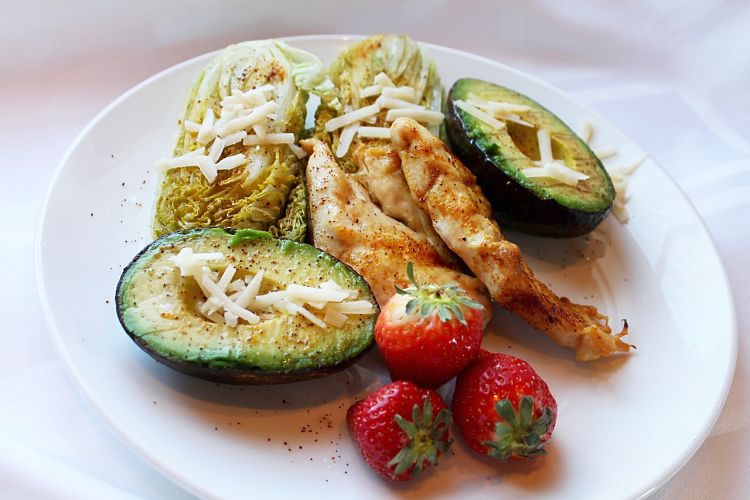 Grilled avocado chicken and tomatoes is a delightful barbecue dish or    a grilled snack meal for the whole family to enjoy
