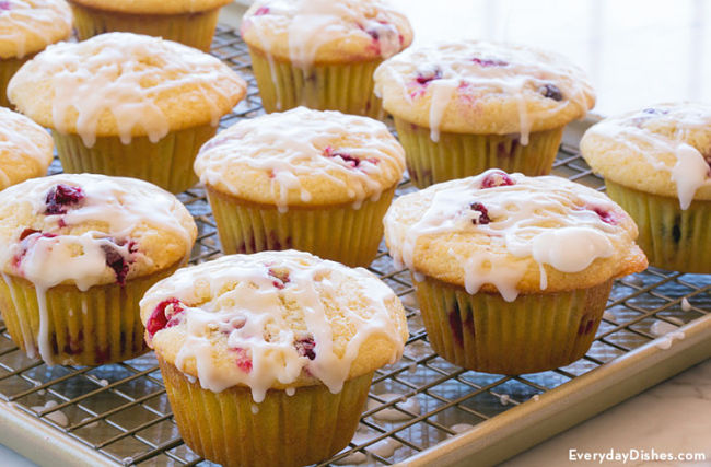 Lemon and cranberry muffins.