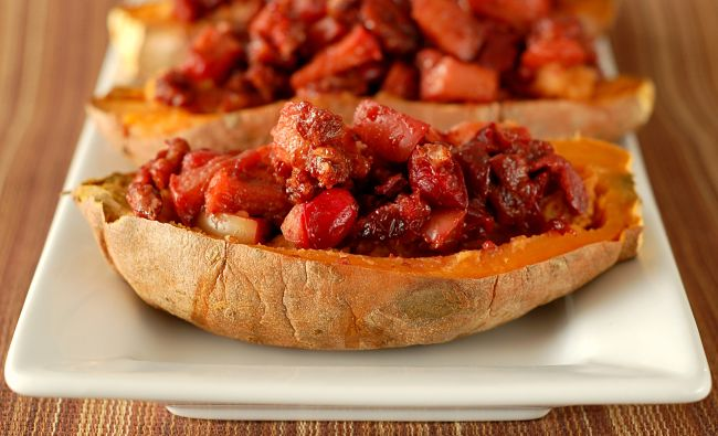Cranberry Apple Pecan Sweet Potatoes is a great way to showcase cranberries