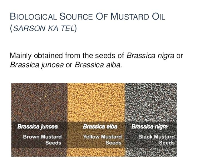 The source seeds for mustard oil. See the health benefits and nutrition facts for mustard oil in this article