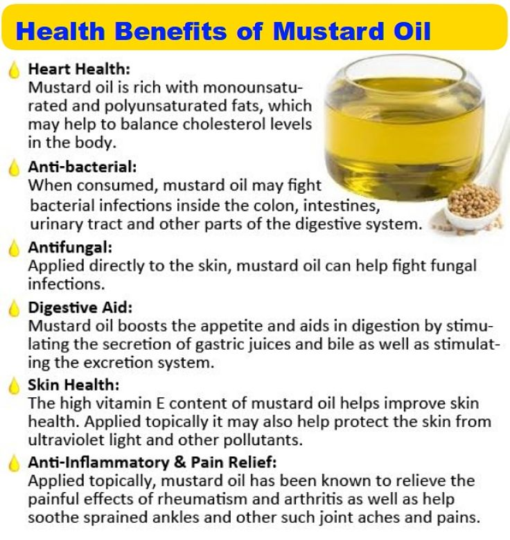 Health Benefits of Mustard Oil - see a chart of nutrition facts in this article
