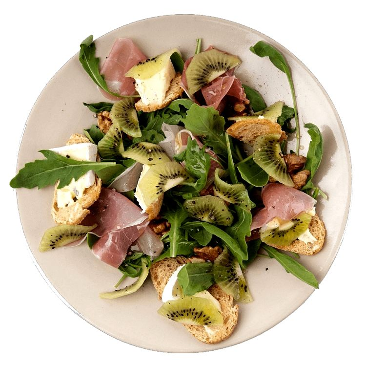 Kiwi fruits can be used in a variety of savory dishes such as this ham salad plate