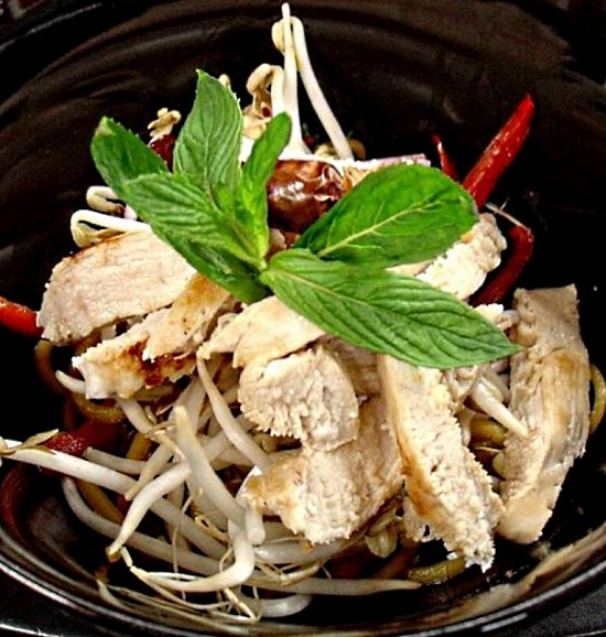 Chicken and fresh peppermint stir fry